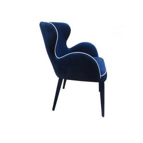 "33"" Blue Fabric and Metal Dining Chair - 100% Authentic Luxury Men's & Women's Fragrances, Cosmetics & Pillows"