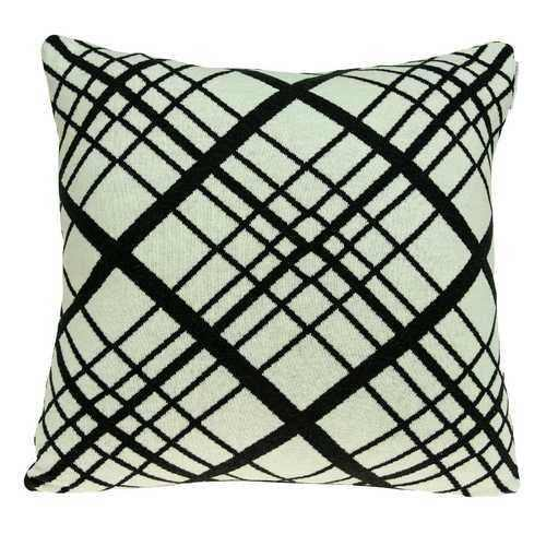 Square White and Black Plaid Accent Pillow Cover - 100% Authentic Luxury Men's & Women's Fragrances, Cosmetics & Pillows