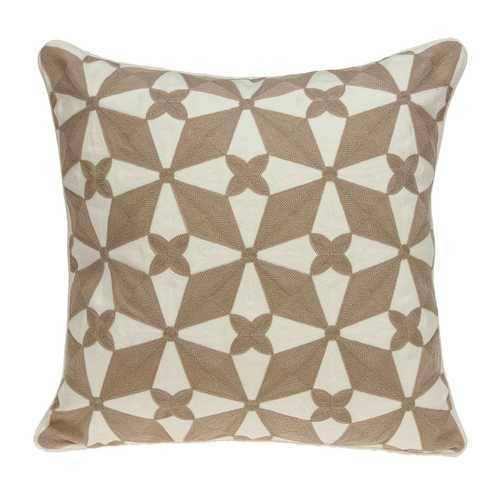 "20"" x 0.5"" x 20"" Transitional Beige and White Accent Pillow Cover - 100% Authentic Luxury Men's & Women's Fragrances, Cosmetics & Pillows"