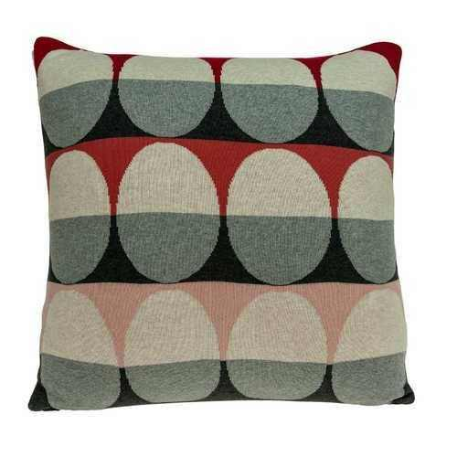 "20"" x 7"" x 20"" Transitional Gray And Red Pillow Cover With Poly Insert - 100% Authentic Luxury Men's & Women's Fragrances, Cosmetics & Pillows"