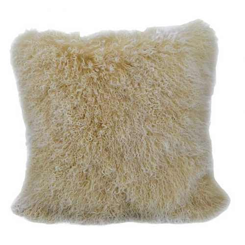 "20"" Gold Genuine Tibetan Lamb Fur Pillow with Microsuede Backing - 100% Authentic Luxury Men's & Women's Fragrances, Cosmetics & Pillows"