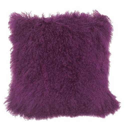 "20"" Purple Genuine Tibetan Lamb Fur Pillow with Microsuede Backing - 100% Authentic Luxury Men's & Women's Fragrances, Cosmetics & Pillows"