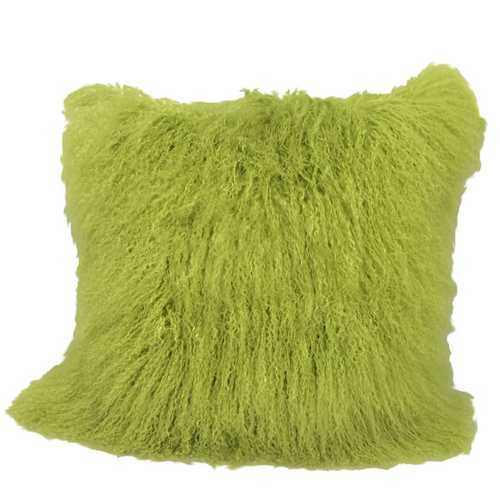 "24"" Lime Green Genuine Tibetan Lamb Fur Pillow with Microsuede Backing - 100% Authentic Luxury Men's & Women's Fragrances, Cosmetics & Pillows"