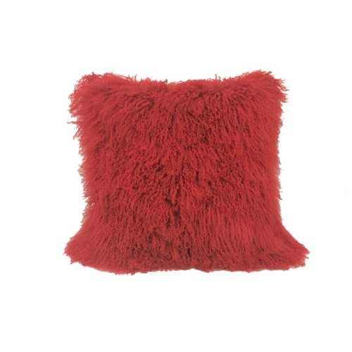 "24"" Red Genuine Tibetan Lamb Fur Pillow with Microsuede Backing - 100% Authentic Luxury Men's & Women's Fragrances, Cosmetics & Pillows"