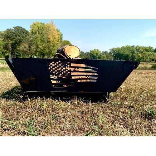 Rustic Patriotic Flag USA Steel Flag Wood Burning Firepit - 100% Authentic Luxury Men's & Women's Fragrances, Cosmetics & Pillows