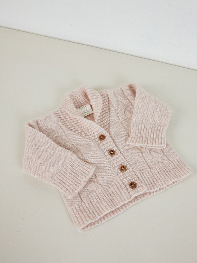 Benmore Cable Knit Carigan 0-3mth Bl Pink