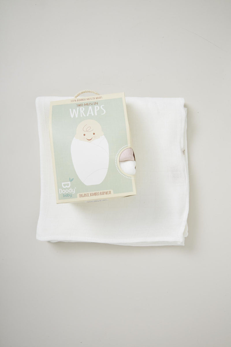 Boody Baby Two Muslin Wraps Sky/Chalk