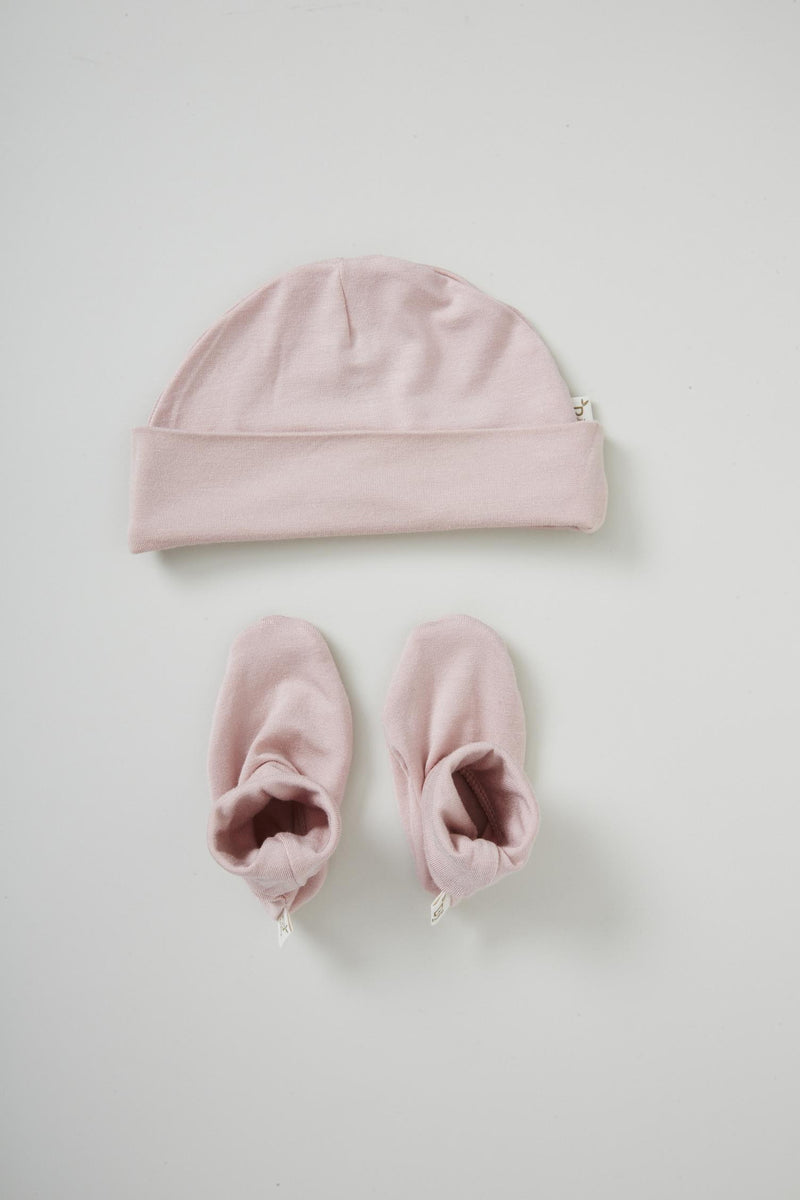 Boody Baby Beanie/Bootie Set Rose 3-6mth