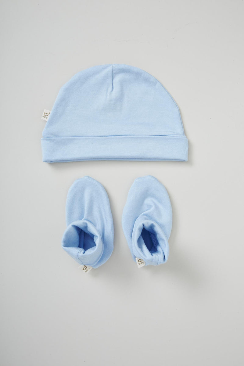 Boody Baby Beanie/Bootie Set Sky 3-6mth