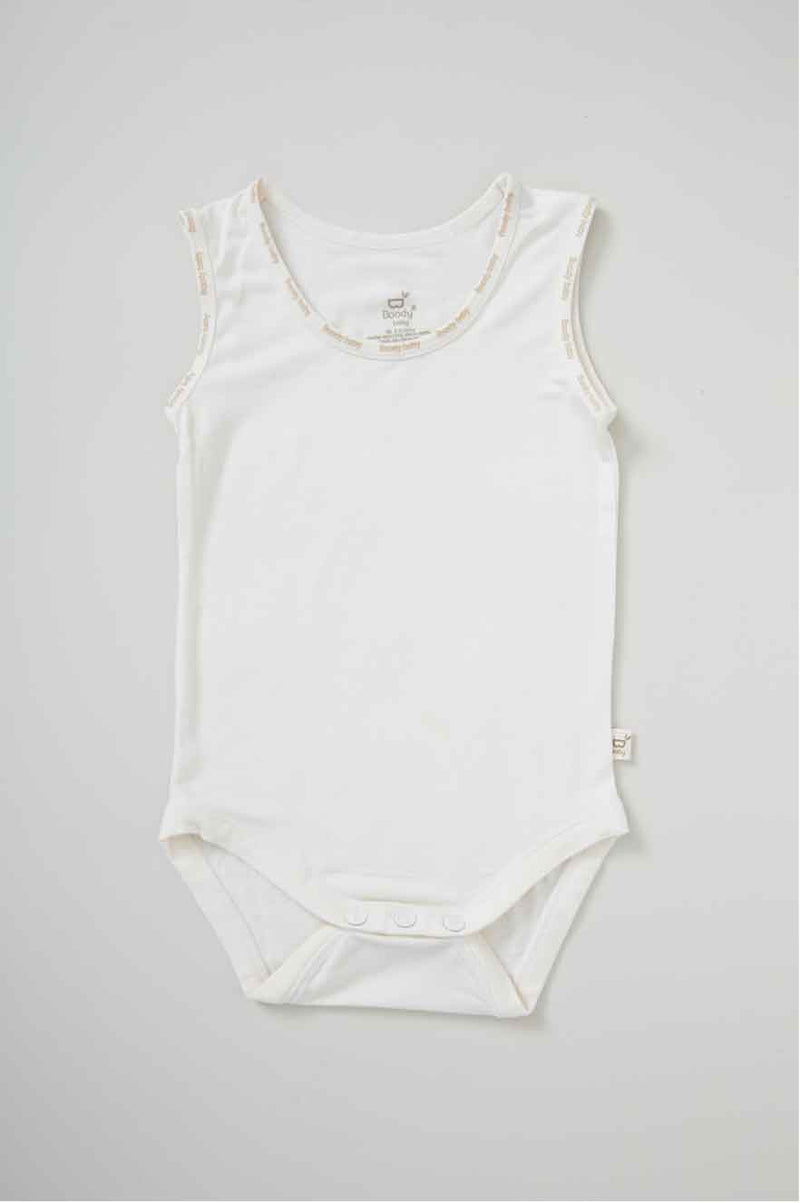 Boody Baby Sl/Less Bodysuit Chalk NB