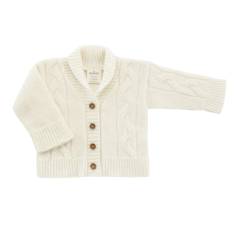 Benmore Cable Knit Cardigan 0-3mth W/White