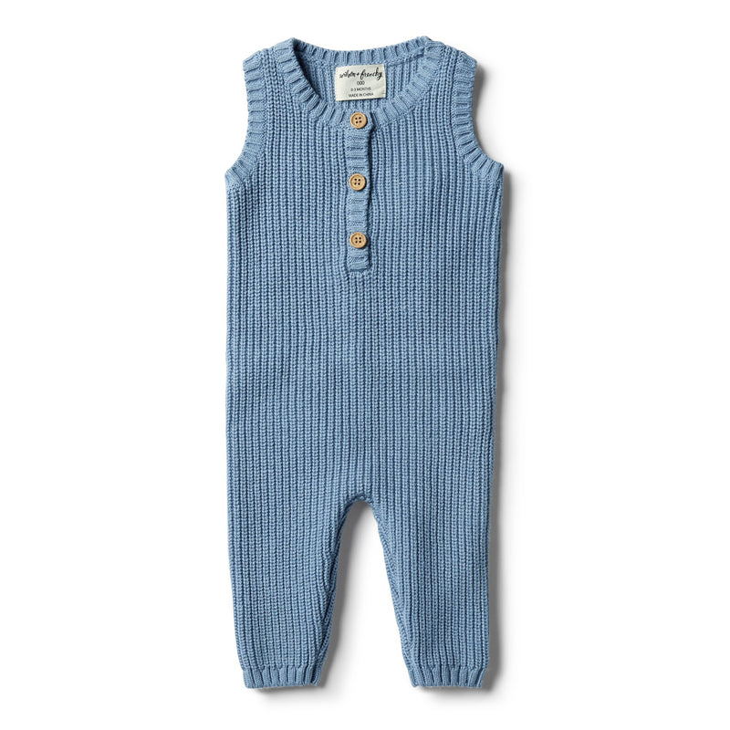 W&F Faded Denim Knit Rib Growsuit 3-6mth