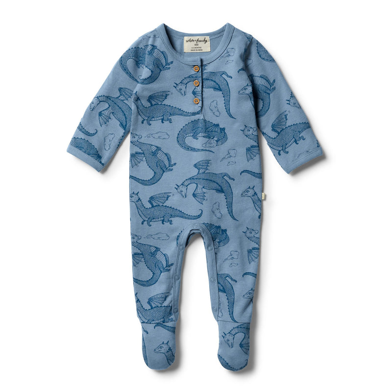 W&F Organic little Dragon Henley G/Suit 0-3mth