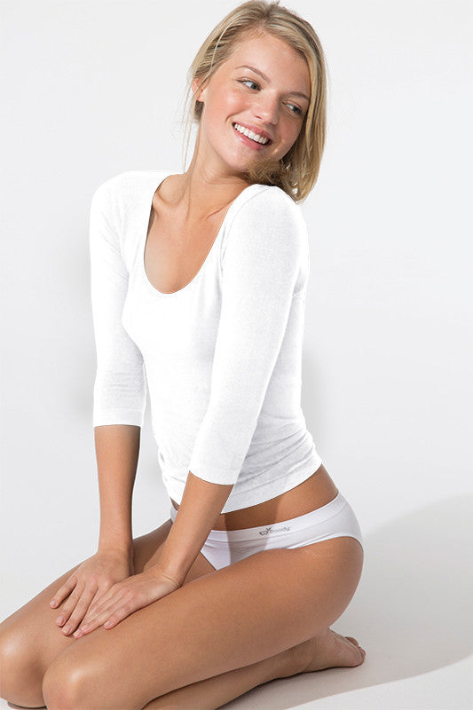 Boody 3/4 Sleeve Top White Med
