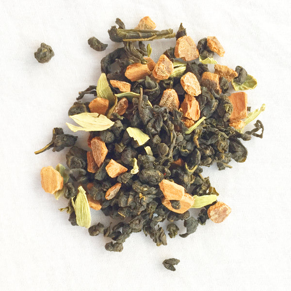 green masala chai mountain blend - green tea, cardamom, cinnamon, saffron