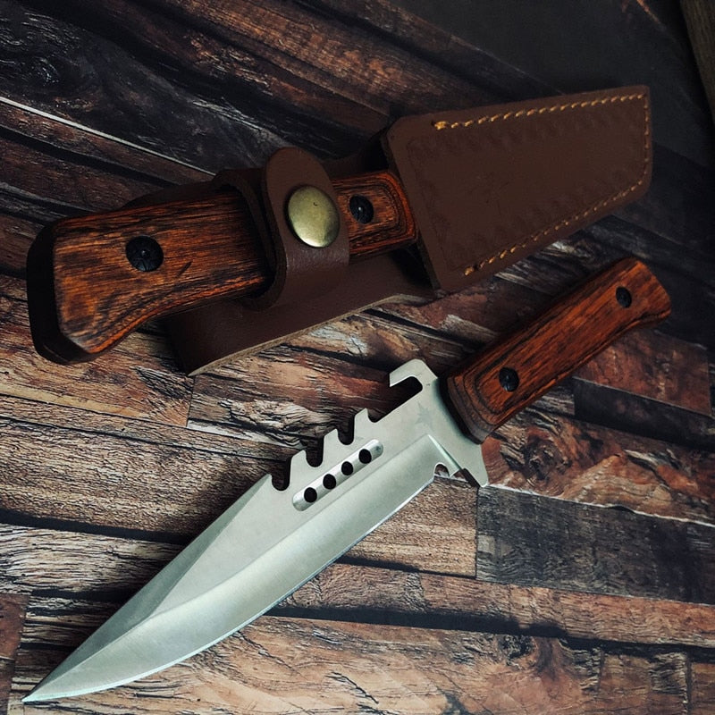 Military Tactical Knife With Wood Handle