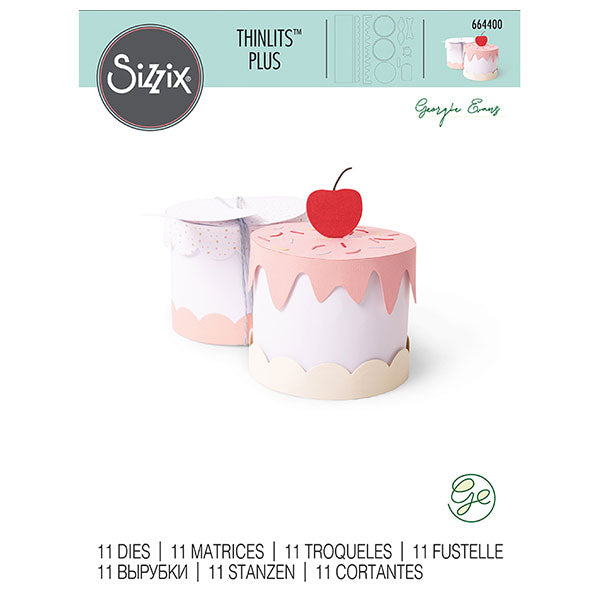 Sizzix-664400 Thinlits Plus Die Set 11PK Cake Box by Georgie Evans