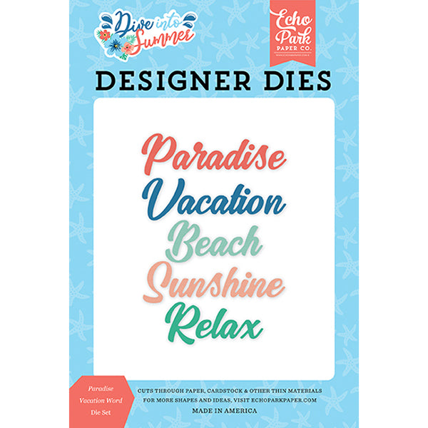 EP-DIS210042 Paradise Vacation Word Die Set