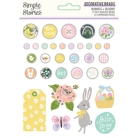 SS-14621 Bunnies + Blooms - Decorative Brads