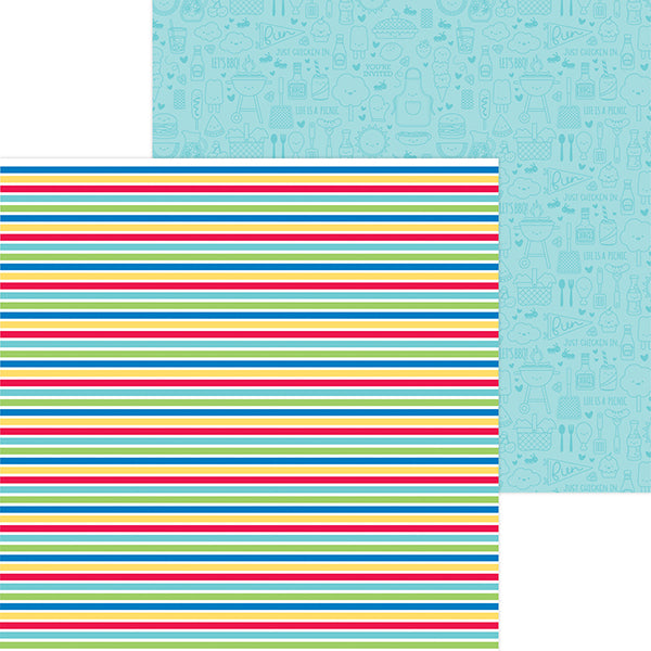 DB-6909 sno cone stripe double-sided cardstock