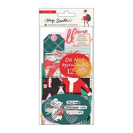 【セール品】373210 Embellishment - CP - Hey, Santa - Ephemera - Cardstock and Printed Vellum (40 Piece)