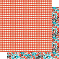 AT-ING004 Ingredient Four - 12x12 paper - Classic red & white tablecloth / Multi color fruit floral ペーパー