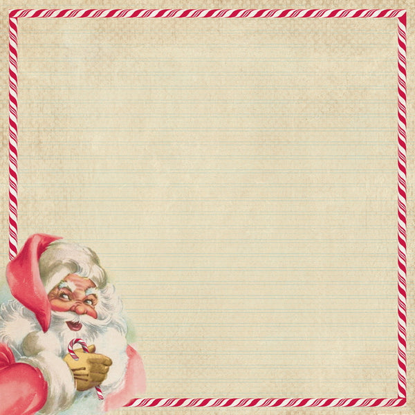 AT-JIN001 Jingle One - 12x12 paper - Retro Santa side design / Handwritten Christmas song lyrics ペーパー