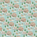 AT-JIN004 Jingle Four - 12x12 paper - Gingerbread houses winter scene / Light blue snowflake on antique white background ペーパー