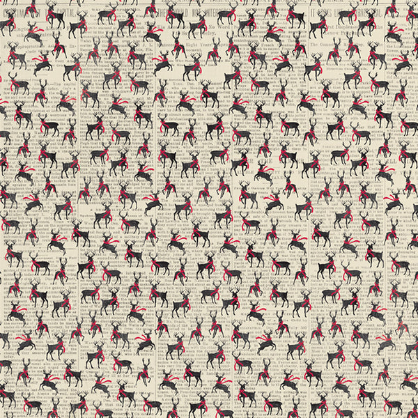 AT-NCM003 Nostalgia Three - Reindeer wearing scarves / Cream spots on red background ペーパー