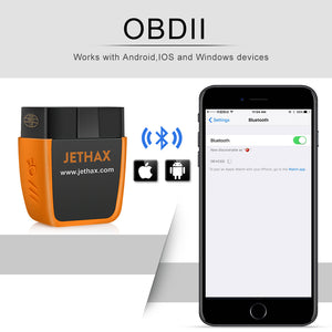 JETHAX OBD2 Scanner Bluetooth 4.0 Professional Car Code Reader Compatible with Android and Ios with System Diagnoses OBD2 Scan Tool Since Year 1996 Vehicles