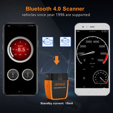 Load image into Gallery viewer, JETHAX OBD2 Scanner Bluetooth 4.0 Professional Car Code Reader Compatible with Android and Ios with System Diagnoses OBD2 Scan Tool Since Year 1996 Vehicles