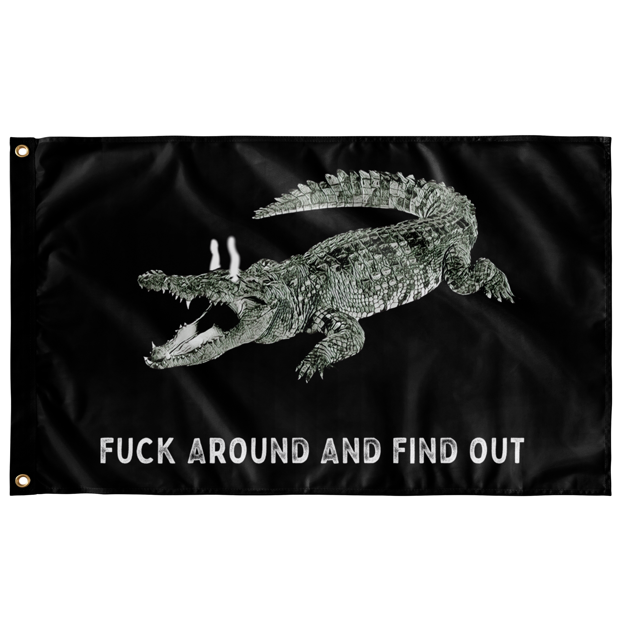Fuck Around and Find Out Gator Rage Flag Black Uncensored Flags  - Gemmed Firefly