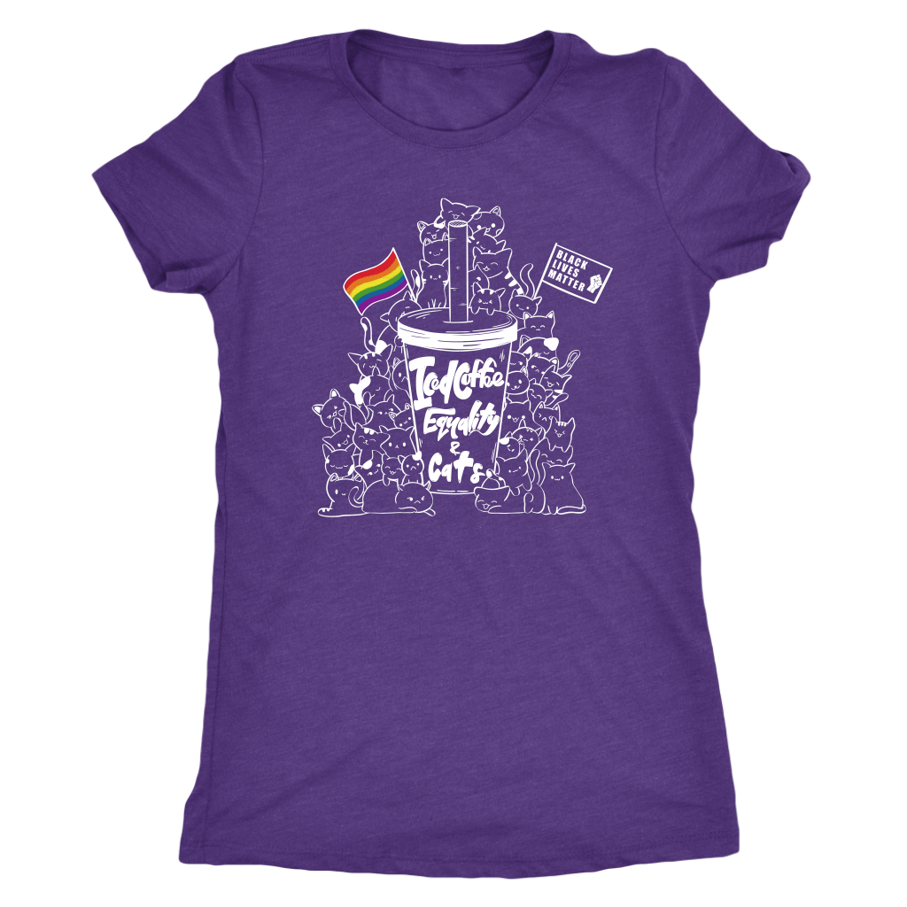 Iced Coffee, Equality, and Cats Kawaii Doodle T-shirt  - Gemmed Firefly
