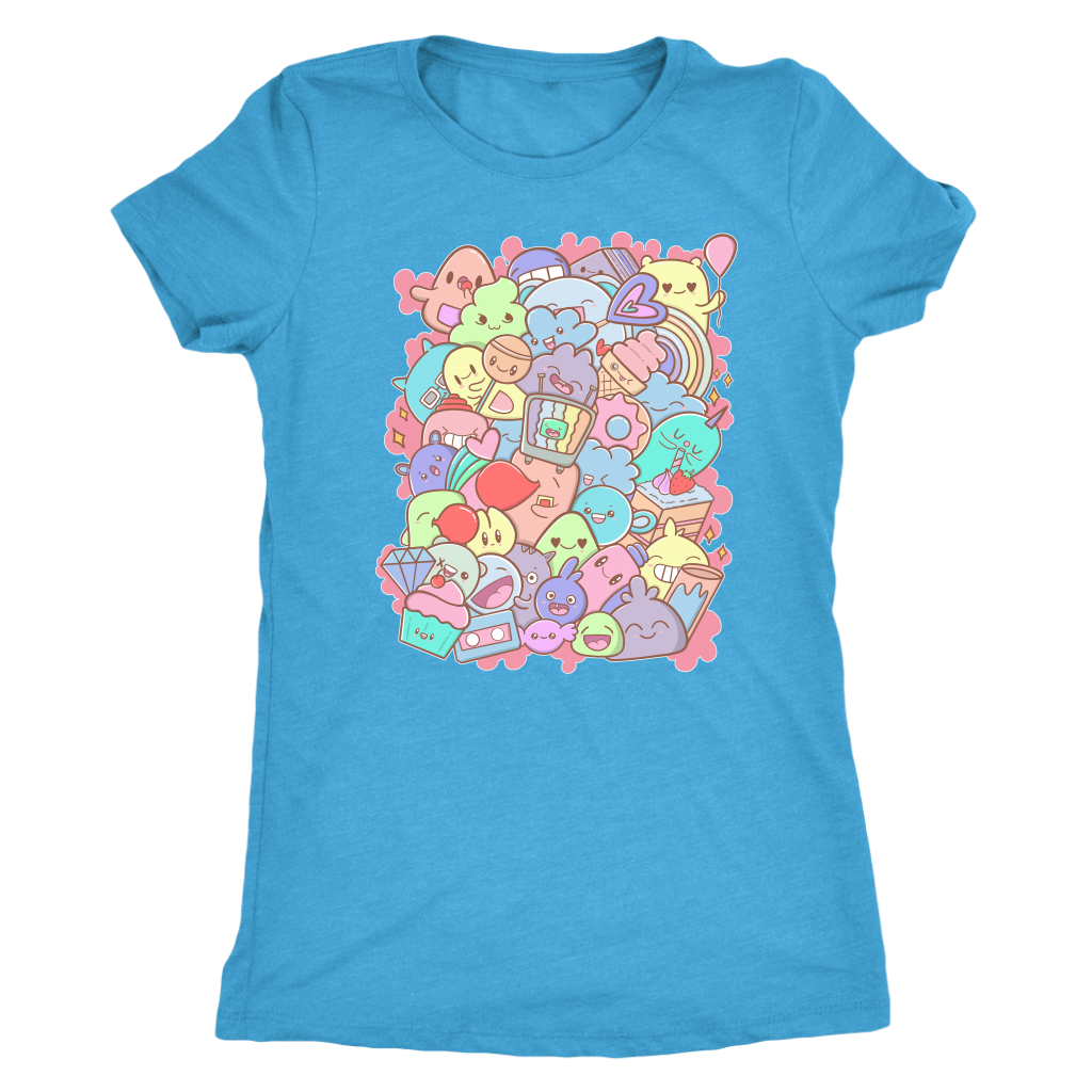 "Adorable Kawaii Cute Doodle Party Pastel - ""Yay"" T-shirt  - Gemmed Firefly"