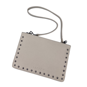 Larson Studded Leather Wallet on a Chain - Mystic White