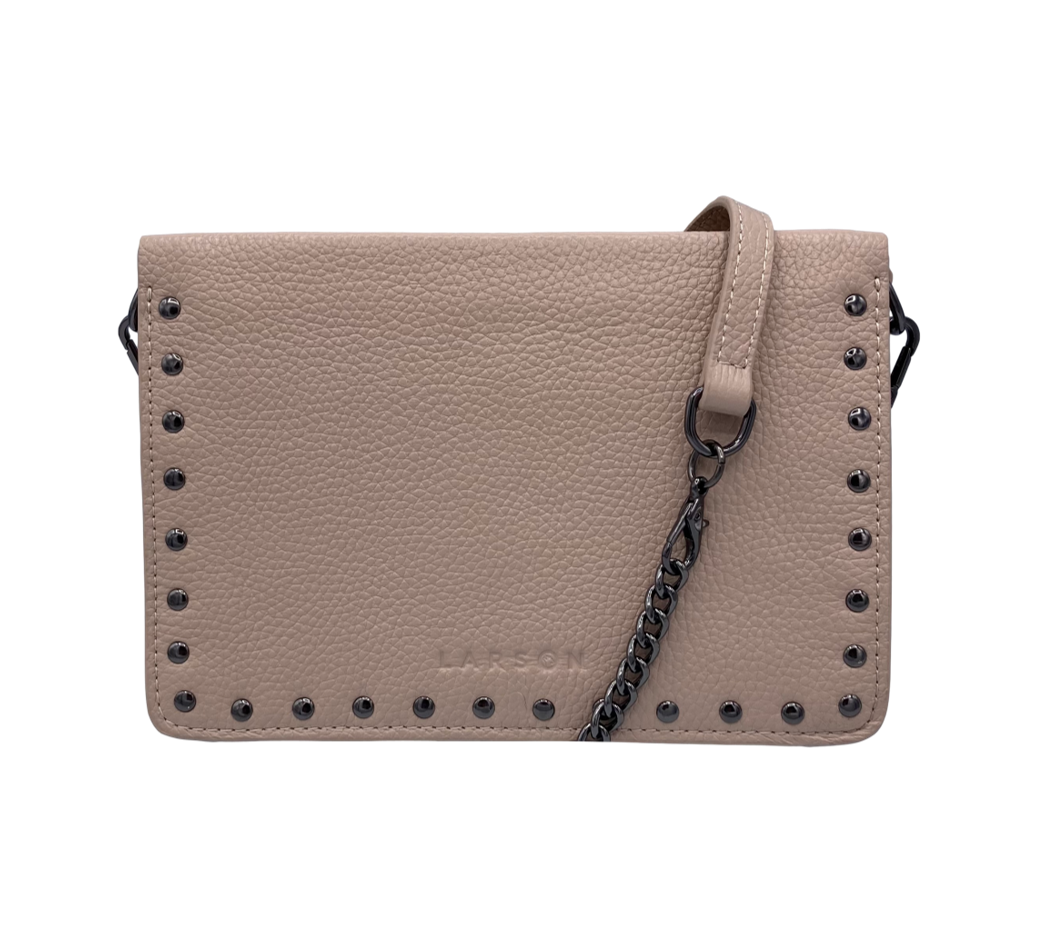 Larson Studded Leather Wallet on a Chain - Classic Taupe