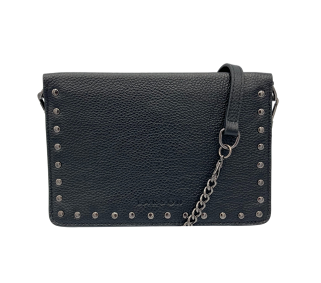 Larson Studded Leather Wallet on a Chain - Black