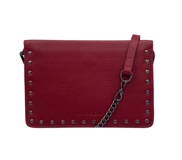 Larson Studded Leather Wallet on a Chain - Redstone