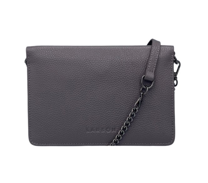 Larson Leather Wallet on a Chain - Motty Grey