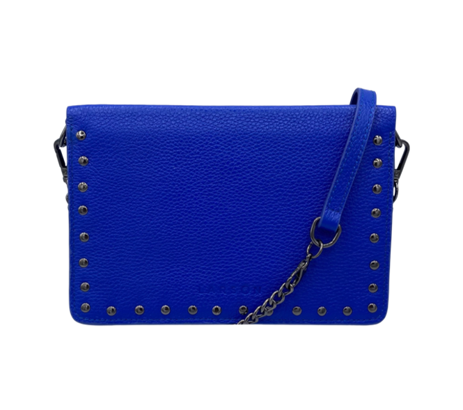 Larson Studded Leather Wallet on a Chain - Royal Navy