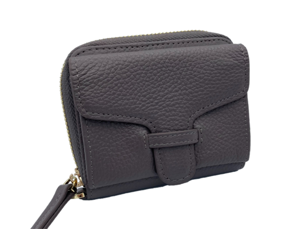 Larson Zip Around Leather Wallet - Motty Grey