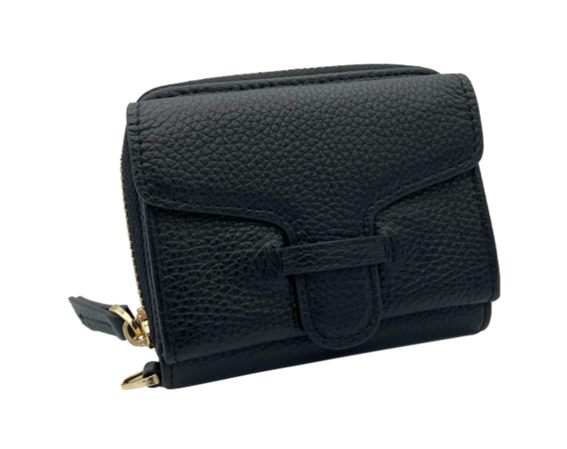 Larson Zip Around Leather Wallet - Black