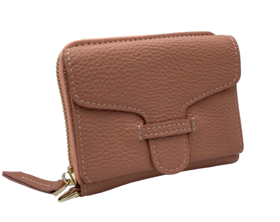 Larson Zip Around Leather Wallet - Dusty Pink