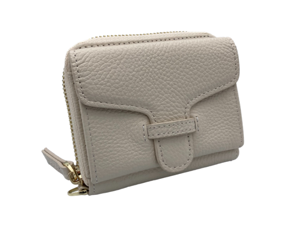 Larson Zip Around Leather Wallet - Mystic White