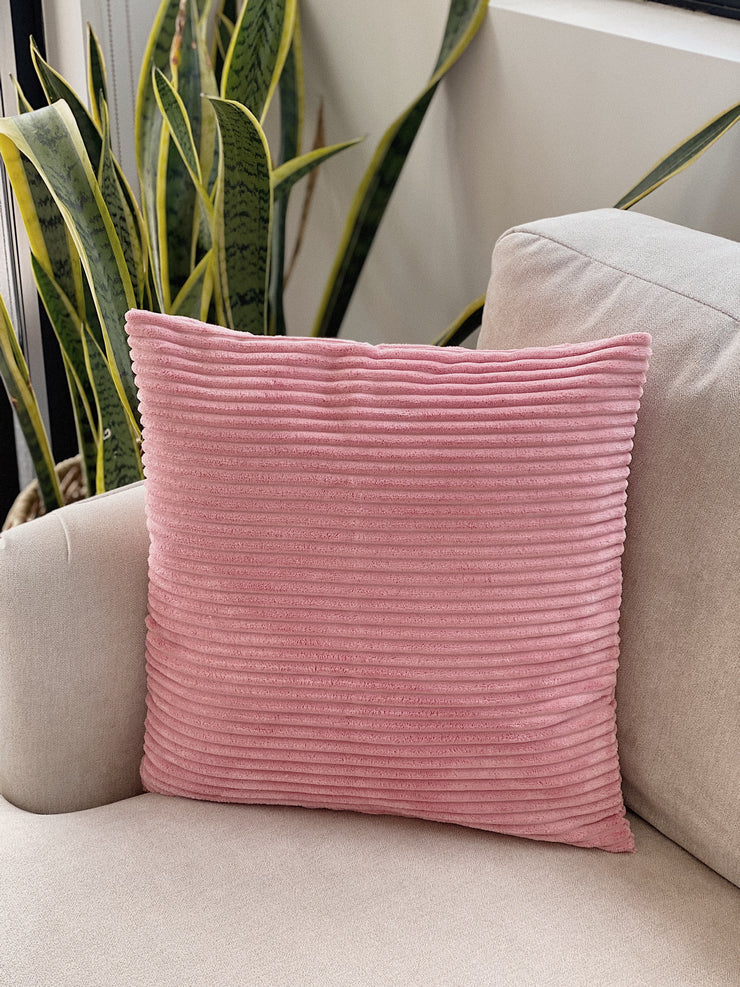 Pink Corduroy Cushion Cover