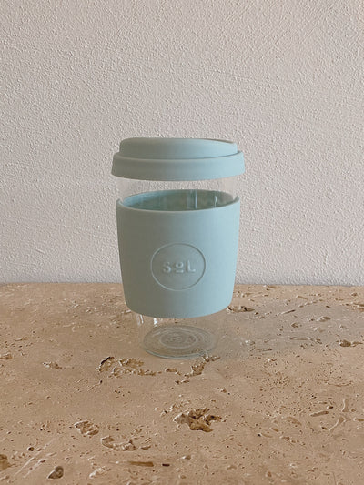 SoL Reusable Glass Cup Cool Cyan (16oz)