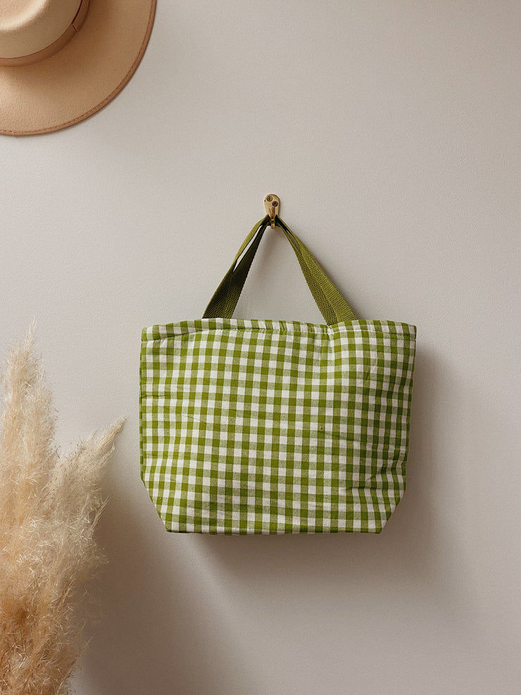 Green Gingham Lunch Bag