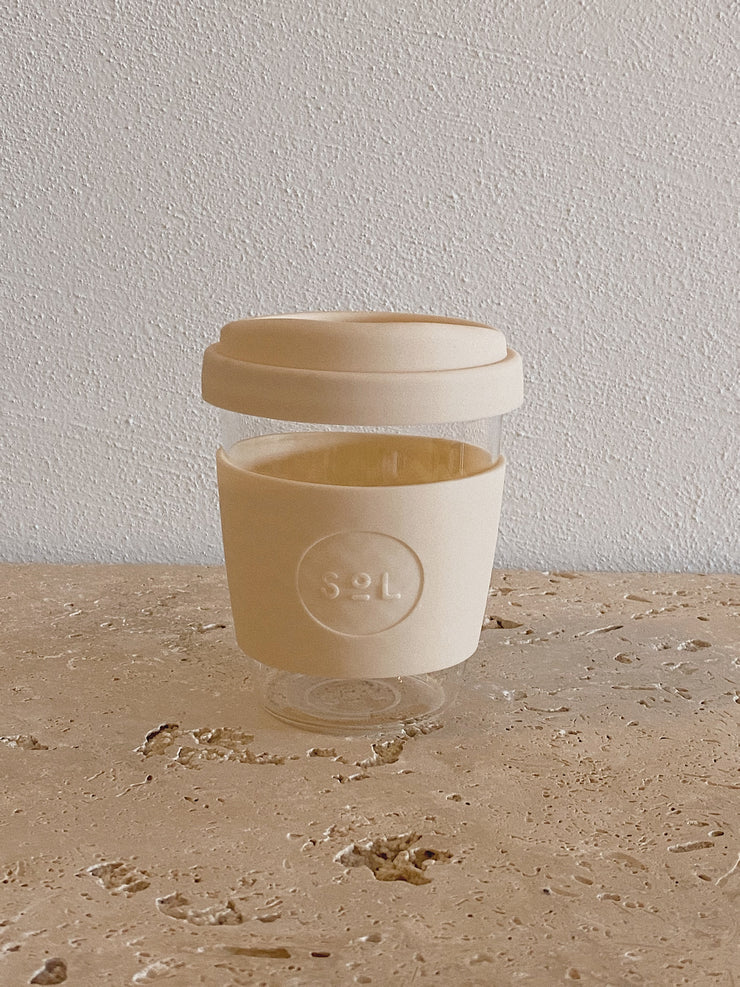 SoL Reusable Glass Cup Coastal Cream (12oz)