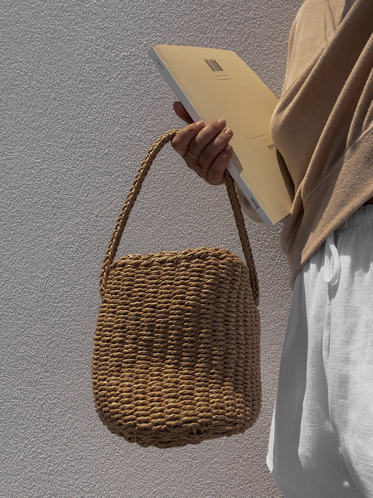Brown Straw Bucket Bag