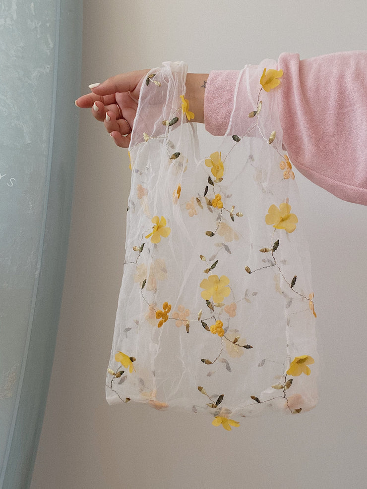 Yellow Flower Organza Tote